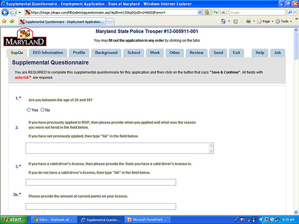 Screenshot of Supplemental Questionnaire for Maryland State Police Trooper Application